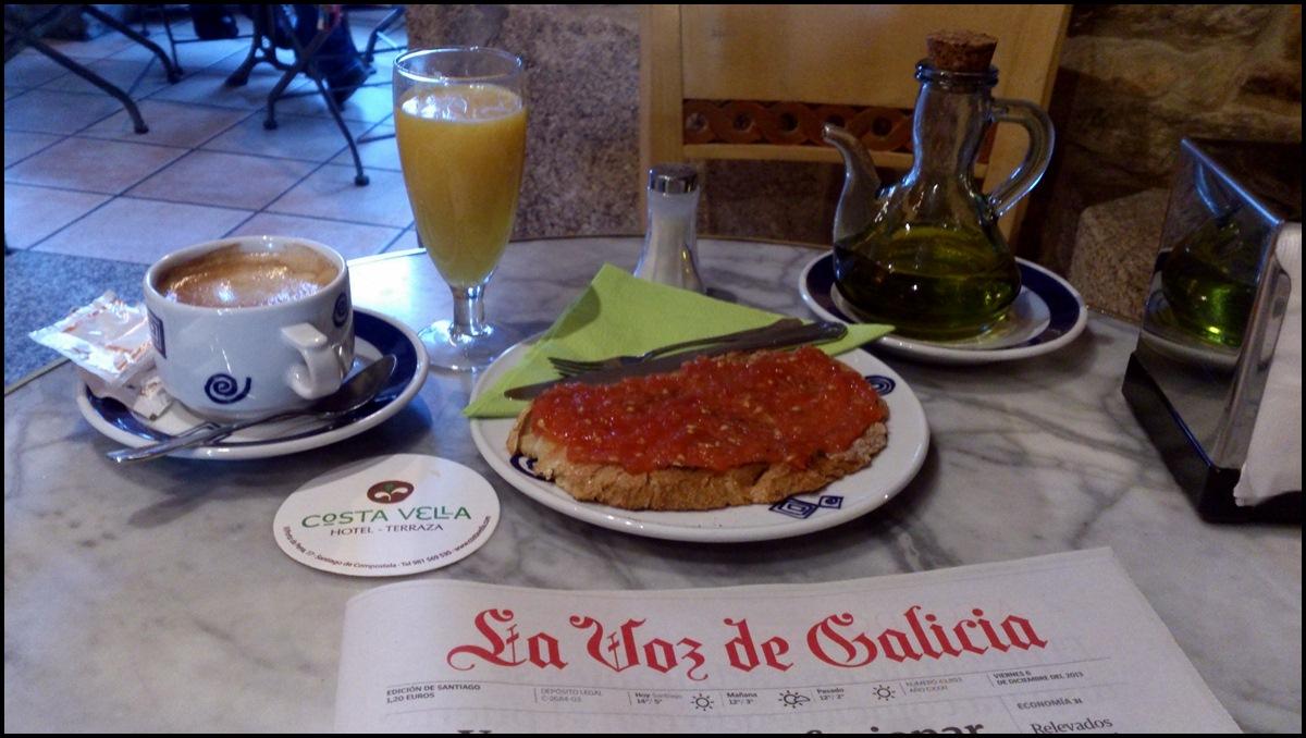 Desayuno en Santiago de Compostela
